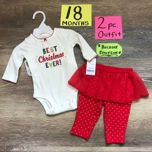 🎄NWT Carter's 2pc Girls 18 Month Christmas Outfit